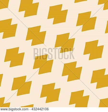 Abstract Modern Geometric Mesh Pattern. Seamless Vector Illustration With Yellow Mustard Shapes. Bac