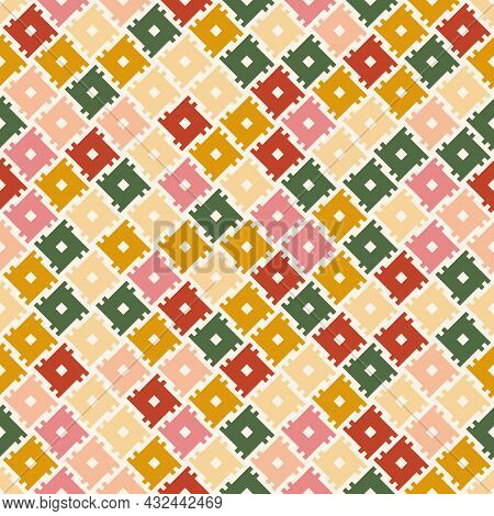 Colorful Traditional Ethnic Pattern. Geometric Tribal Vintage Square Shapes. Design For Background,