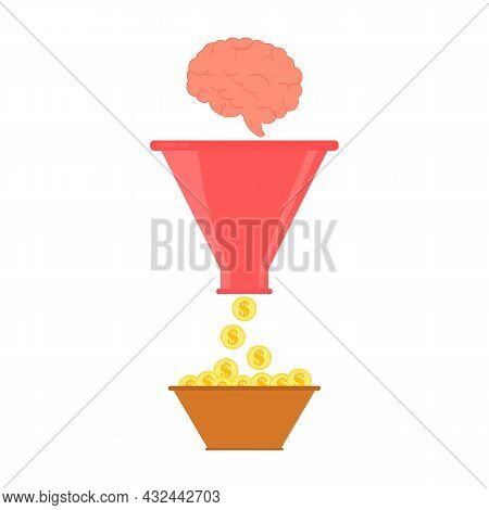 Sales Funnel Concept. The Brain Falls Into The Funnel And Money Is Obtained. Finance, Educational An