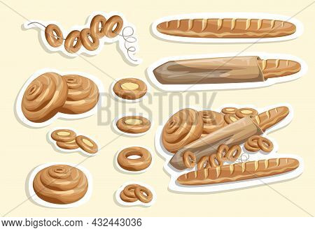 Vector Image Of Stickers Of White Bread And Other Flour Products. Cartoon Style. Isolated On A White