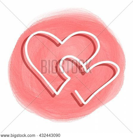Stiker Love, Two Hearts One Line, Isolated Simple Drawing On Watercolor Brush Background