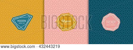 Vector Abstract Seamless Pattern Collection With Stylish Labels, Badges. Trendy Cover Designs. Abstr