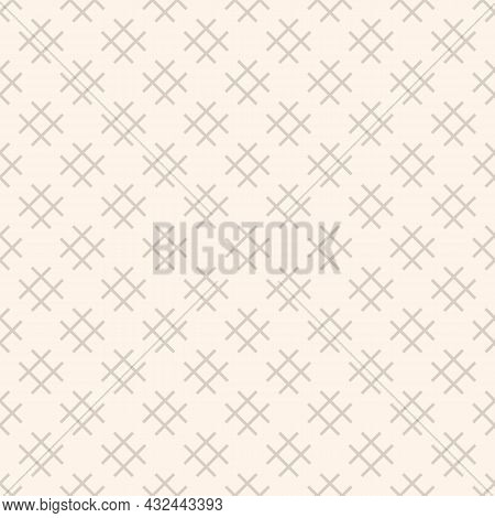 Linear Geometric Pattern With Squares, Hashtag, Lattice, Grid, Mesh. Light Beige Vector Background T
