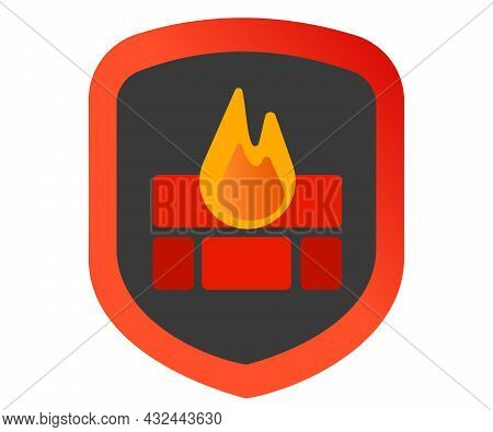 Firewall Icon Symbol Shield With Brick Wall And Flame Guard Protect Security