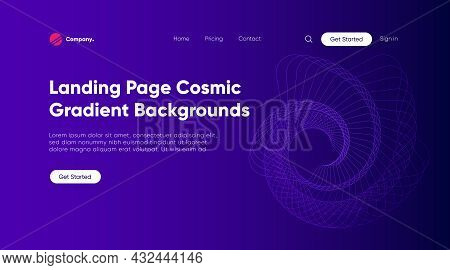Linear Wave, Data Techno Background Of Landing Page, Homepage. Hi-tech Concept, Network Technology.