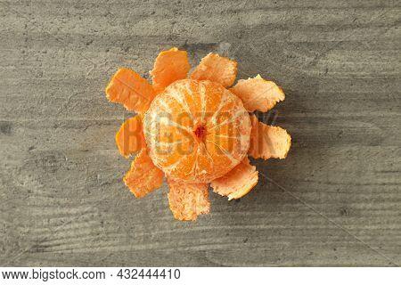 Tasty Fresh Mandarin On Grey Textured Table