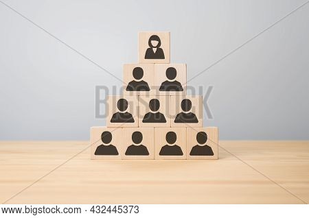 Female Leader At The Head Of The Organization. Woman, Leader At The Head Of The Organization Manages