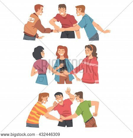 Happy People Character With Their Hands In Stack Putting Them Together Showing Unity And Solidarity