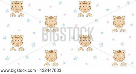 Endless Texture With Cute Tiger Cub Face And Paws On A White Background With Small Stars. Vector Sea