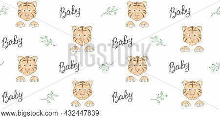Endless Texture With Cute Tiger Cub Face, Paws, Baby Lettering And Twigs With Leaves On A White Back