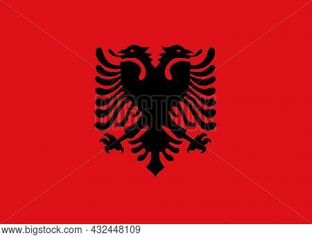 Albania Flag On South-eastern Europe's Balkan Peninsula