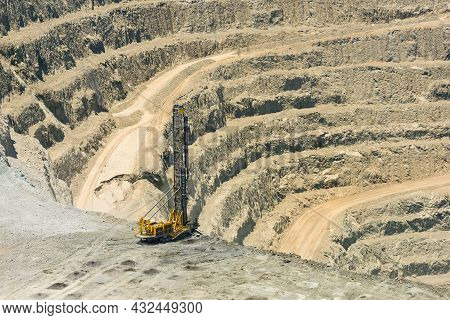 Blasthole Drill In An Open Pit Copper Mine Operation In Chile