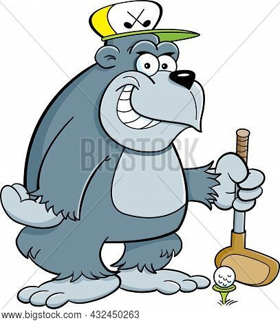 Cartoon Illustration Of A Smiling Gorilla Wearing A Golf Cap While Holding A Golf Club.