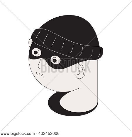Isometric Icon With Face Of Criminal In Black Hat Vector Illustration