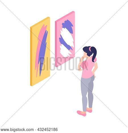 Isometric Exhibition Art Gallery Icon With Woman Looking At Two Abstract Paintings Isolated Vector I