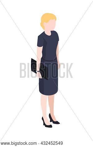Isometric Icon With Faceless Character Of Businesswoman Wearing Dress Vector Illustration