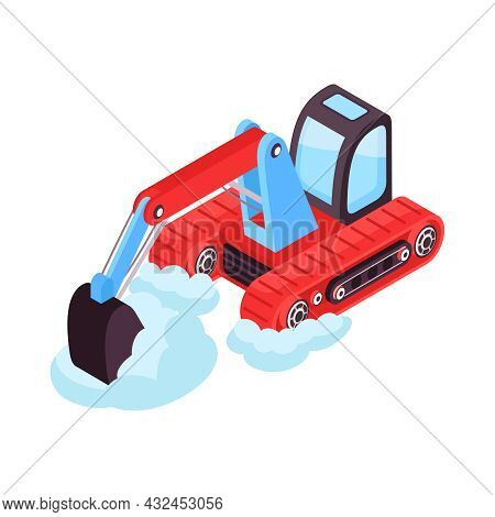 Isometric Icon With Bulldozer Cleaning Streets From Snow 3d Vector Illustration