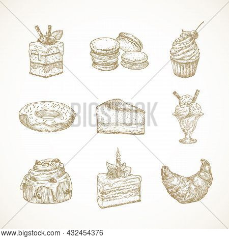 Dessert Sweets Hand Drawn Doodle Vector Illustrations Set. Cakes, Donut, Ice Cream, Macarons And Cro