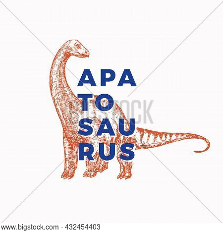 Prehistoric Dinosaur Abstract Sign, Symbol Or Logo Template. Hand Drawn Apatosaurus Reptile With Mod