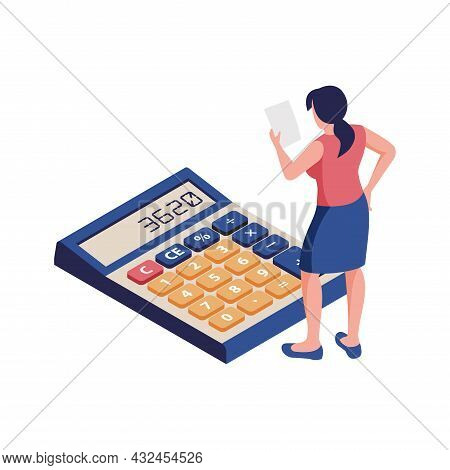 Accounting Process Icon With Woman Accountant And Calculator On White Background Vector Illustration
