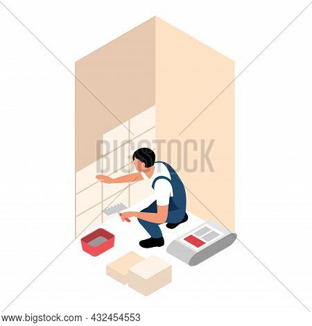 House Repair Isometric Icon With Worker Laying Tiles 3d Vector Illustration