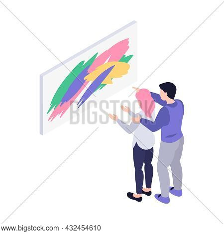 Couple Looking At Painting At Art Gallery Isometric Icon 3d Vector Illustration
