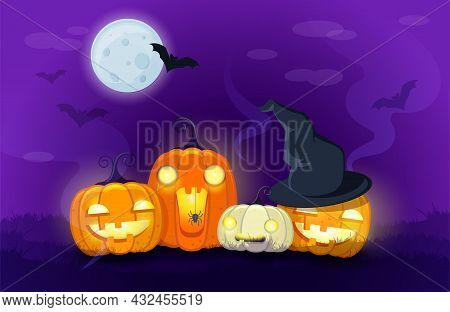 Halloween Pumpkins On Night Background With Bats And Moonlit . A Traditional Jack-o'-lanterns. Carto