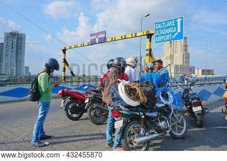Kolkata, West Bengal, India - 20th July 2019 : Bikers Assembled On Maa Flyover To Resolve A Traffic