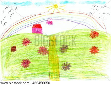 Joy Children Drawing With Rainbow And Flowers On Hill. Kid\'s Drawing With Flowers And Colorful Rain