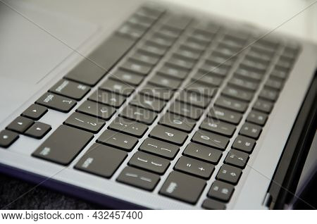 Los Angeles, Usa - September 6 2021. Selective Focus Keyboard Of Latest Apple Laptop Macbook Air M1.