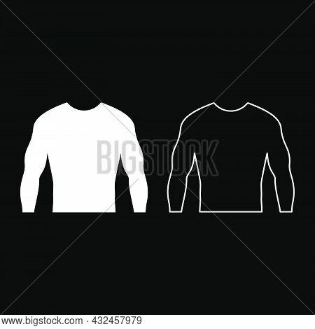 Rashguard Long Sleeves Top Icon White Color Vector Illustration Flat Style Simple Image Set