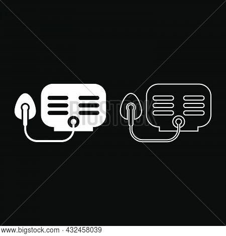 Inhaler Nebulizer Medical Aerosol Equipment Icon White Color Vector Illustration Flat Style Simple I