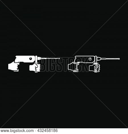 Electric Rotary Hammer Drill In Hand Holding Tool Use Arm Using Power Tool Icon White Color Vector I