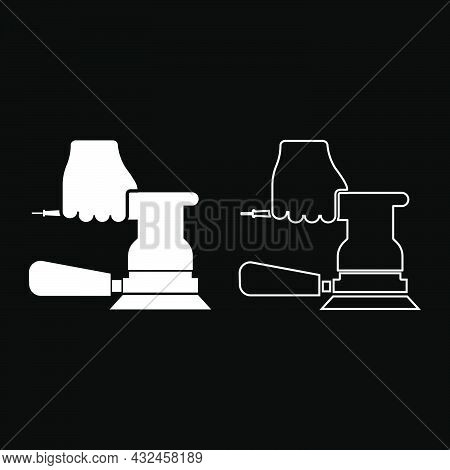 Sander In Hand Holding Tool Use Arm Using Circular Sheet Electric Orbital Instrument Icon White Colo