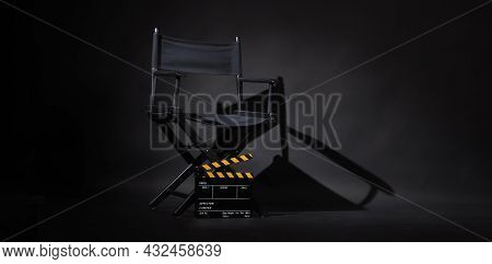 Black Director Chair And Clapperboard Or Movie Slate Use In Video Production Or Movie And Cinema Ind