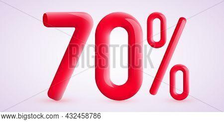 70 Percent Off. Discount Creative Composition. 3d Sale Symbol With Decorative Confetti. Sale Banner