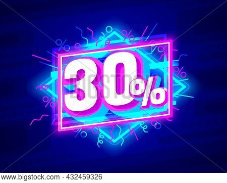 Cyber 30 Off Sale Banner, Light Neon Flyer, Retro Label. Vector