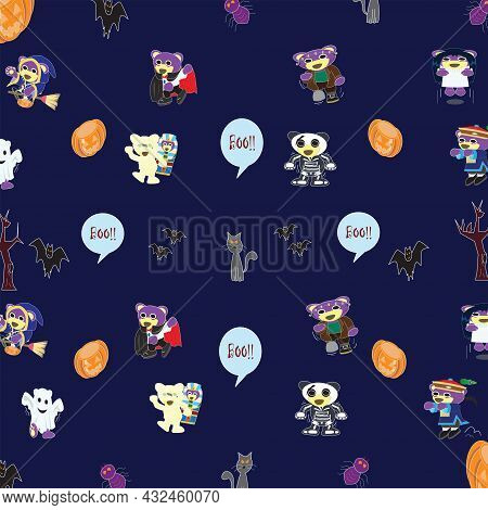 Reunion Halloween Party With Mr.purple Bear Wallpaper,vector Background