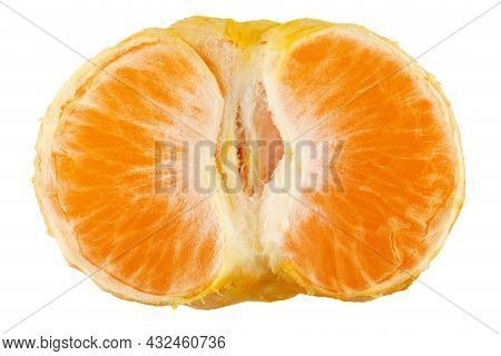 Half Peeled Mandarin Isolated With White Background. File Contains Clipping Path.