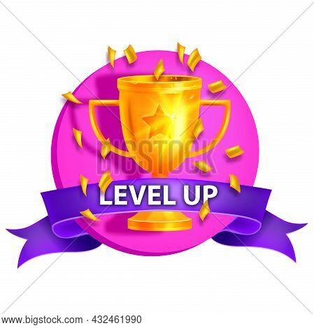 Level Up Game Icon, Vector Bonus Casino Reward Badge, Achievement Award Sticker, Golden Trophy Cup.