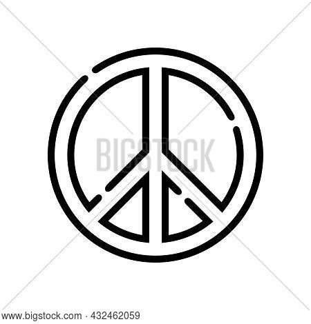Peace. Peace Line Icon Isolated On White Background. Peace Icon Simple Sign. Peace Icon Flat Vector