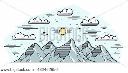 Mountain Peaks Line Art Vector Illustration Isolated On White, Linear Illustration Of Mountains Rang