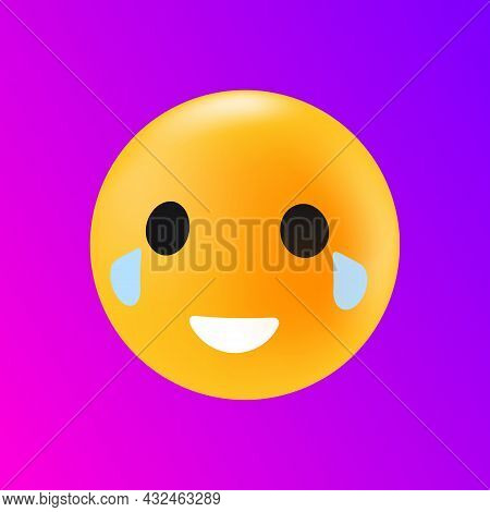 Face With Tears Of Joy. Emoticon Reaction. Isolated Element. Vector Illustration