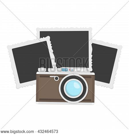 Camera With Blank Photos In Flat Style Isolated On Blue Background. Vintage Photo Camera With Photo