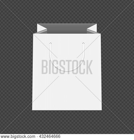Empty White Shopping Bag Template For Advertising And Branding. Mockup Paper Package. Mock Up Templa