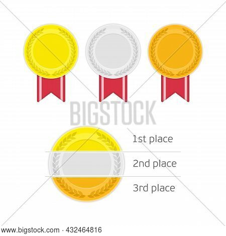Medal Set With Red Ribbons Isolated On White Background. Collection Of Gold, Silver And Bronze Award