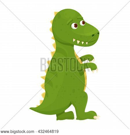 Dinosaur, Baby Animal T Rex Fantasy Fossil Animal In Cartoon Style Isolated On White Background. Cut