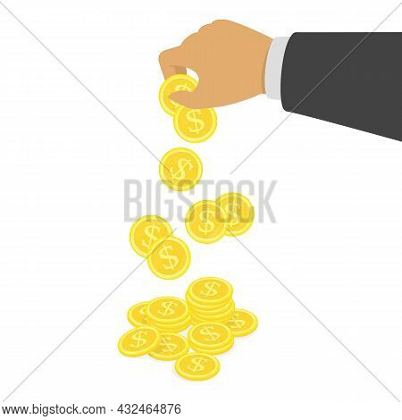 Hand Putting Dollar Coin In Stack. Profit, Making Money, Business Or Finance Concept. Golden Coins I