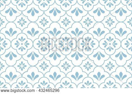 Flower Geometric Pattern. Seamless Vector Background. White And Blue Ornament. Ornament For Fabric,