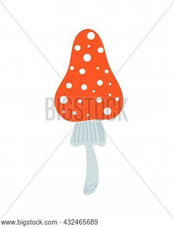Mushroom With White Dots, Fly Agaric Seasonal Halloween Vector Illustration Of Inedible Witch Mushro